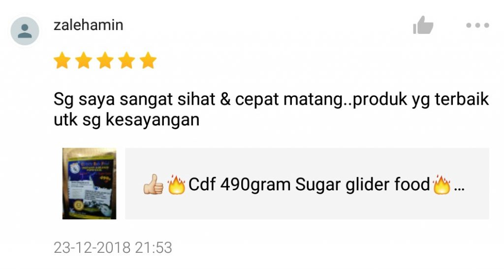 cdf sugar glider food